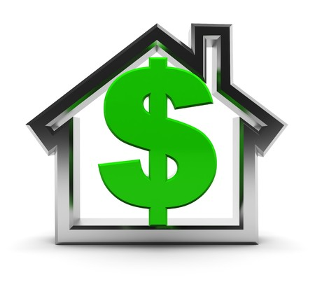 dollar icon: abstract 3d illustration of house symbol with dollar sign inside