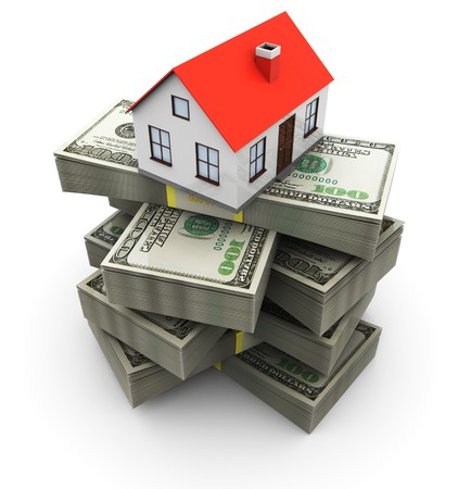 abstract 3d illustration of generic house on money stack, over white background Stock Photo