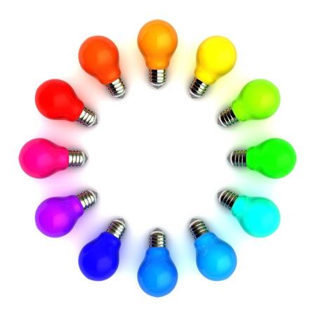 Ilustración 3D del círculo de bulbos coloridos sobre fondo blanco  Foto de archivo