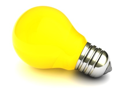 bright idea: 3d illustration of yellow light bulb over white background
