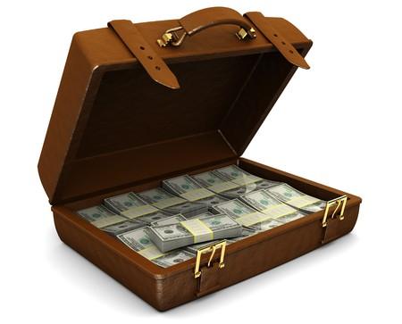 cuenta bancaria: Ilustraci�n 3D de malet�n lleno de dinero, sobre fondo blanco