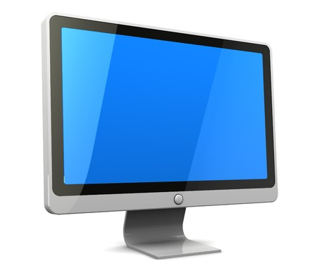 blank screen: 3d illustration of computer monitor with blank blue screen Stock Photo