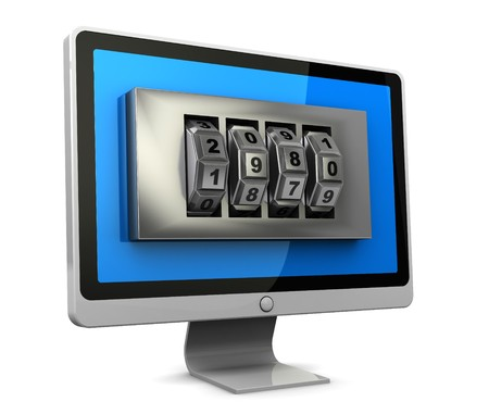 safeguarded: 3d illustration of computer monitor with combination lock in screen