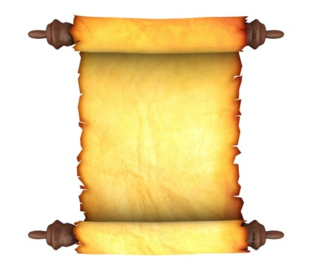 3d illustration of an ancient paper scroll isolated over white background illustration