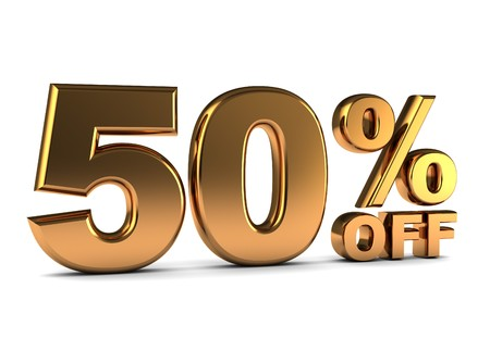 3d illustration of 50 percent discount sign, golden color