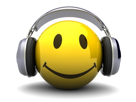 headphones icon: 3d illustration of happy face with headphones, over white background Stock Photo