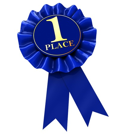 place to shine: 3d illustration of first place blue ribbon award, isolated over white background Stock Photo