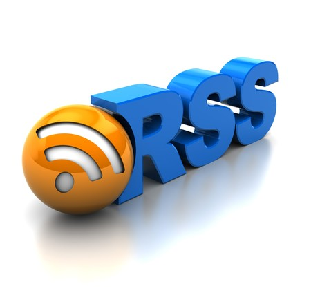 aggregator: abstract 3d illustration of rss symbol or icon, over white background