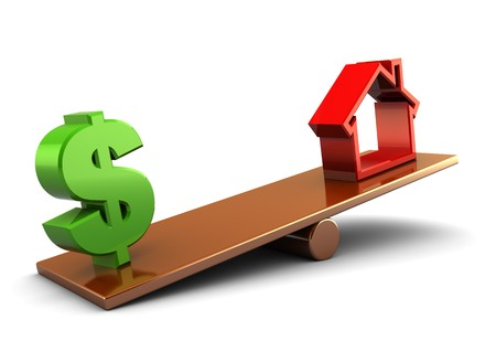 3d illustration of house and dollar sign on board scale, over white background Stock Illustration - 8103491