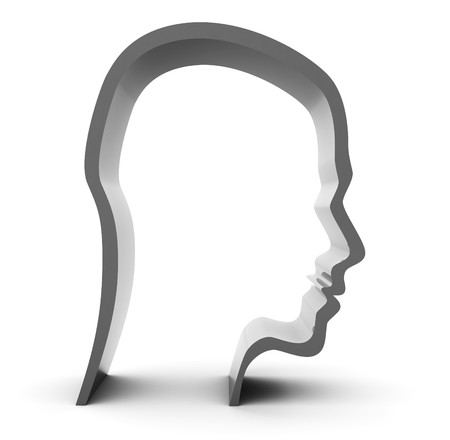 abstract 3d illustration of steel head silhouette over white background illustration