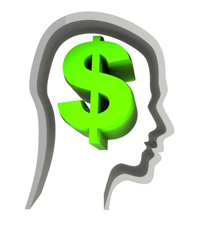 abstract 3d illustration of dollar sign in head, isolated over white illustration