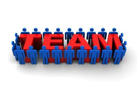 abstract 3d illustration of people around 'team' sign Stock Illustration - 8103514
