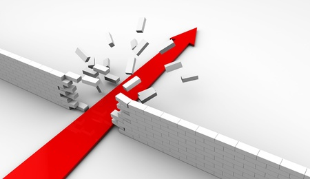 adversity: abstract 3d illustration of strong arrow breaking white brick wall
