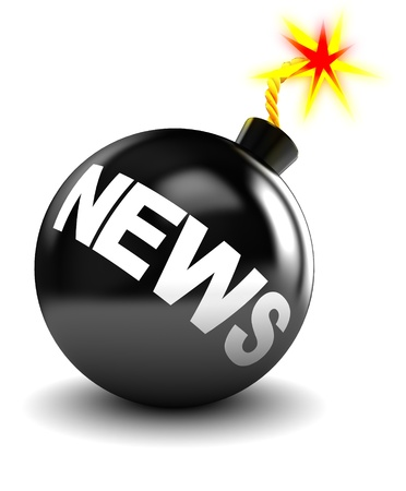 abstract 3d illustration of bomb with sign 'news' on it Stock Illustration - 8534451