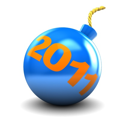 abstract 3d illustration of cartoon bomb with 2011 sign on it illustration