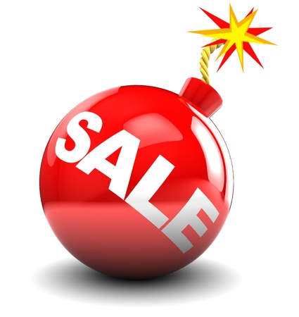 the last: abstract 3d illustration of red bomb with sale sign, over white background Stock Photo