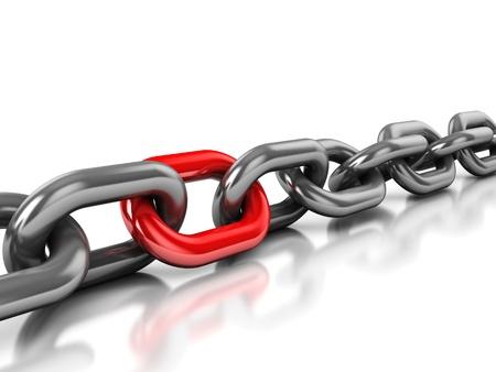 Ilustración 3d abstracto de cadena con un enlace rojo sobre fondo blanco