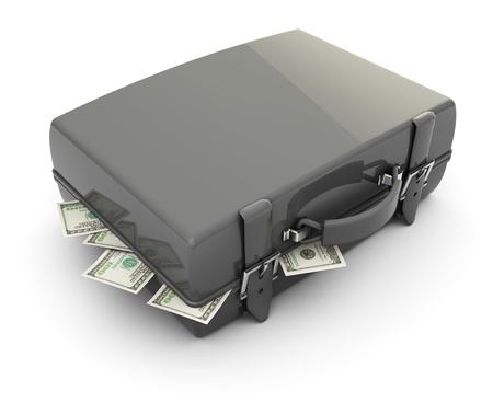 3d illustration of gray case full of money, over white background