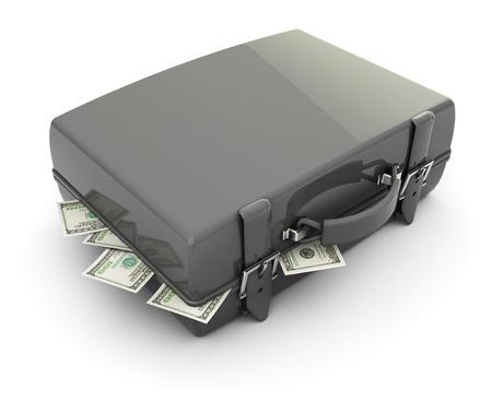 refelction: 3d illustration of gray case full of money, over white background