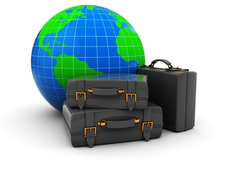 3d illustration of luggage and earth globe, traveling concept illustration
