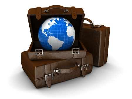 map case: 3d illustration of luggage stack with earth globe, travel concept Stock Photo