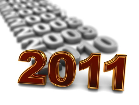 3d illustration of year numbers row with new 2011 at front
