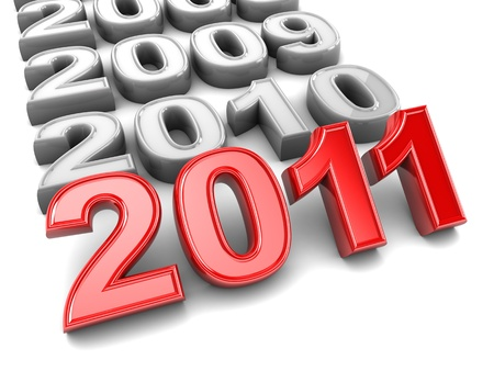 abstract 3d illustration of year signs with new 2011