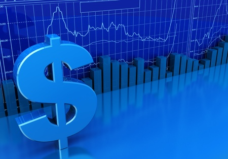 stock market chart: 3d illustration of business diagrams and dollar sign, blue colors background