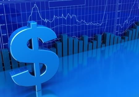 grafica de barras: Ilustraci�n 3D de diagramas de negocios y el signo de d�lar, Fondo de colores azul Foto de archivo