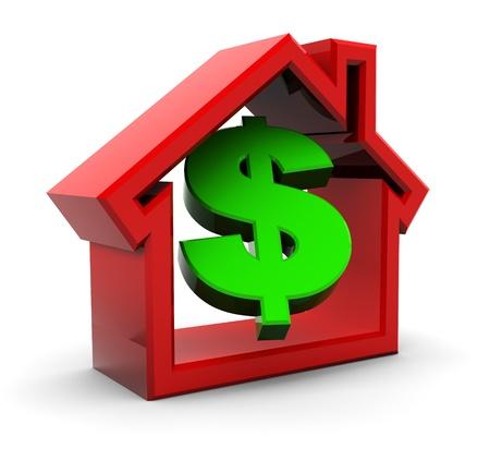 signos de pesos: Ilustraci�n 3D de s�mbolo de casa y dinero sobre fondo blanco Foto de archivo