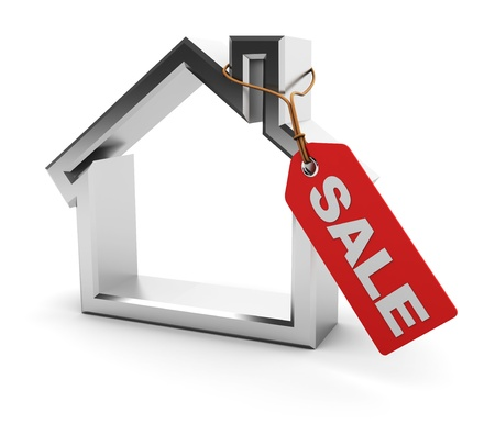 sell house: abstract 3d illustration of house symbol with sold red tag