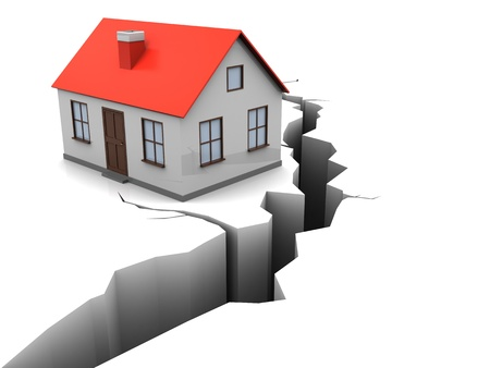 demolishing: 3d illustration of house with crack in ground, earthquake concept Stock Photo