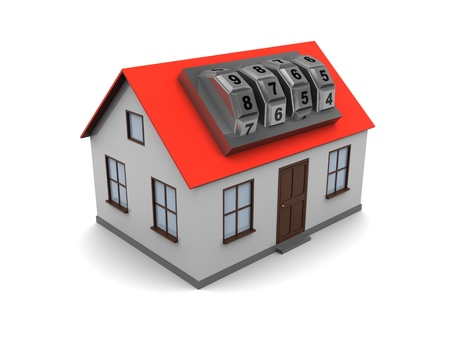 3d illustration of generic house with combination lock over white background Stock Illustration - 8534539