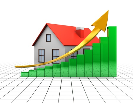 abstract 3d illustration of house with raising charts over white background with grid Stock Illustration - 8534631