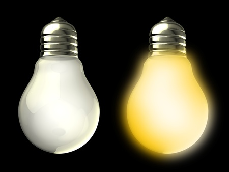 3d illustration of two light bulbs on and off, over black background illustration
