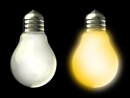 light bulbs: Ilustraci�n 3D de dos bombillas y desactivar, sobre fondo negro Foto de archivo