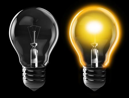 3d illustration of light bulb, power on, and power off, over black background Stock Illustration - 8534599