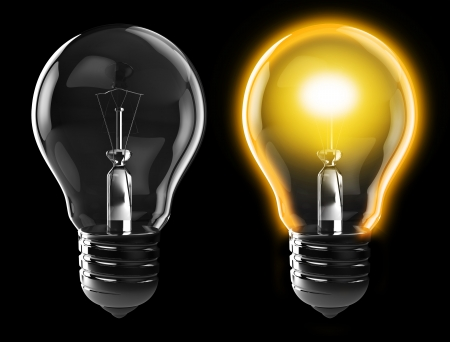 off: 3d illustration of light bulb, power on, and power off, over black background