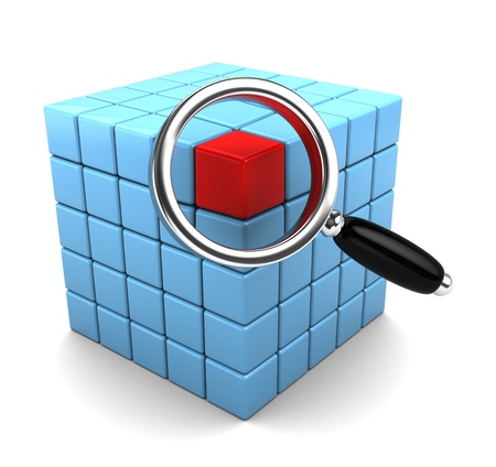 3d illustration of cube structure and magnify glass, data search concept Stock Illustration - 8534551