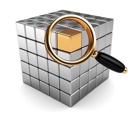 abstract 3d illustration of magnify glass and cube, data searching concept Stock Illustration - 8534626