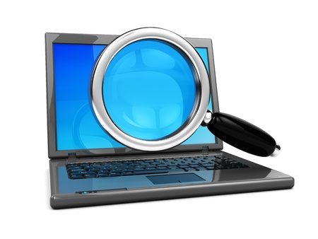 magnification icon: 3d illustration of laptop computer with magnify glass, over white background