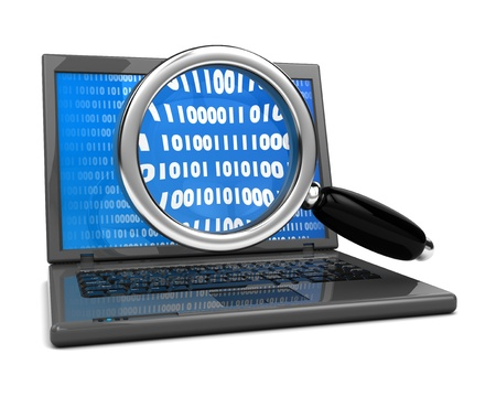 3d illustration of laptop computer and magnify glass,  information searching concept illustration