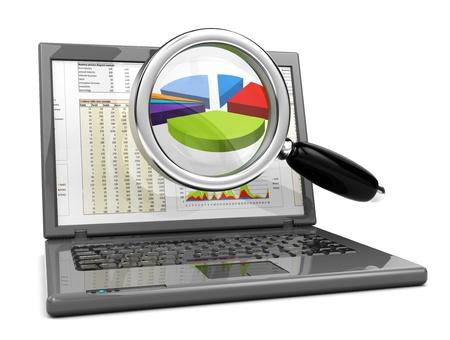 diagrama circular: Ilustraci�n 3D de ordenador port�til y un gr�fico de negocio en pantalla
