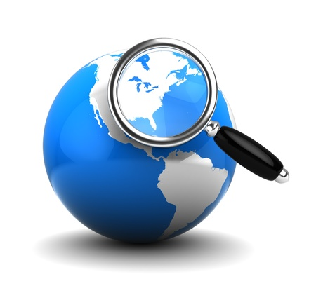 find us: 3d illustration of blue earth globe with magnify glass, over white background