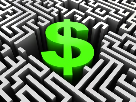 abstract 3d illustration of maze with dollar sign in center illustration