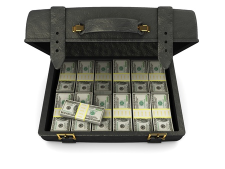 3d illustration of black leather case full of money, over white background illustration
