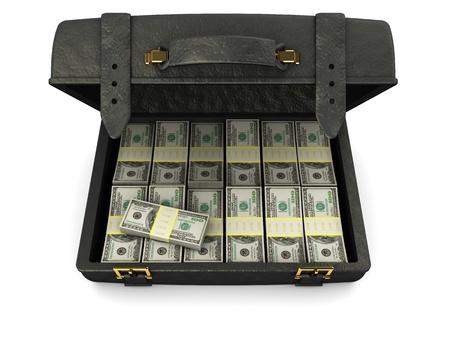 robando: Ilustraci�n 3D de cuero negro caso lleno de dinero, sobre fondo blanco