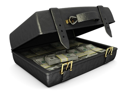 stealing money: 3d illustration of leather suitcase with money, over white background