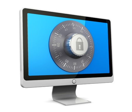 3d illustration of computer monitor protected by combination lock