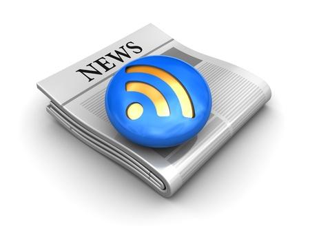 icone news: illustration 3D de rss news ic�ne ou symbole, sur fond blanc Banque d'images